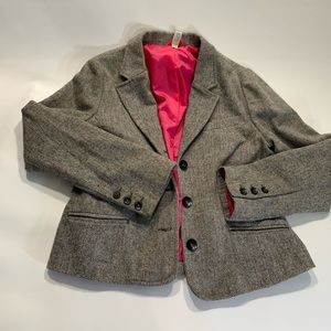 Old Navy | Wool Blend Blazer With Hot Pink Lining
